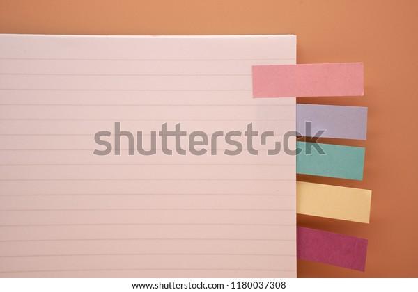 Minimal Openedblank Notebook Sticky Labels On Stock Photo