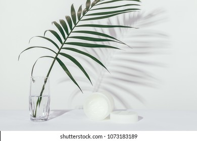 Minimal pure composition with palm leaf and opened jar of cosmetic cream on white background.