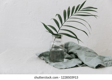 Minimal pure composition with palm leaf and opened jar  on white background.