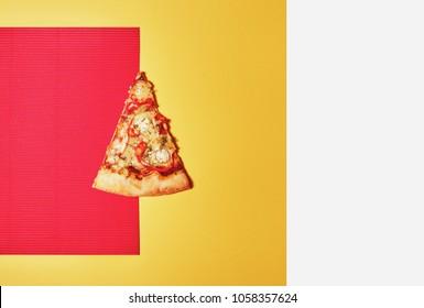 Minimal style. Minimalist fashion photography. Flat lay. Top view. Pizza Margherita just mozzarella and tomato sauce with some fresh basil