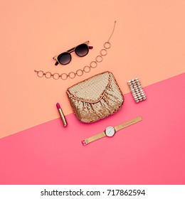 Minimal. Sweet Colors. Cosmetic Makeup. Glamor fashionable Woman Gold Handbag Clutch, Trendy Design Sunglasses. Luxury Shiny Party lady. Creative Art.