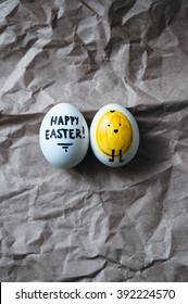 minimal trendy graphic modern yellow easter eggs. kids funny diy dye natural organic turmeric easter eggs. rustic background. easter postcard invitation. happy easter text card. chicken hand drawn.