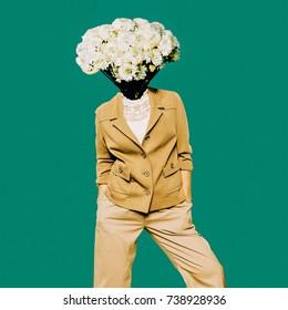 Minimal Vintage Lady. Head Bouquet. Contemporary Art.