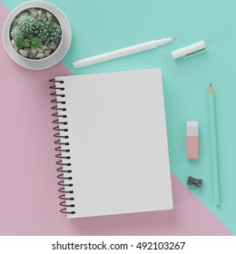Minimal work space , sketchbook , pen , glasses , pencil , cactus , rubber on pastel pink and green background for copy space.