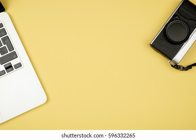 Minimal workplace with notebook and copy space on pastel background. Top view. Flat lay.