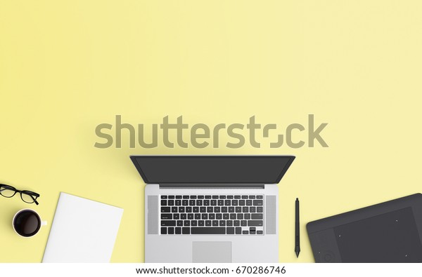 Minimal workspace with laptop, coffee cup and graphic tablet copy space on color background. Top view. Flat lay style.