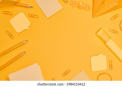 Minimalism, Back to school ,Yellow school supplies on yellow background, flat lay with copy space - Shutterstock ID 1984153412