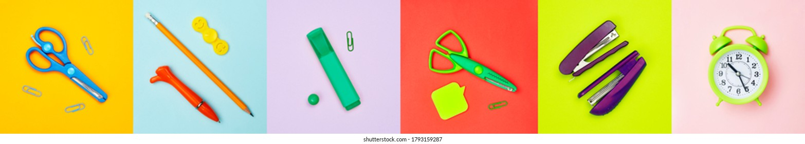 minimalism banner, set of complementary colors multicolored school, office supplies, flatley, copyspace - Shutterstock ID 1793159287