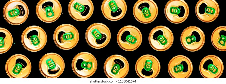 Minimalism. Beer cans on a black background. Pattern. Concept: modern, accent, original approach creativity idea