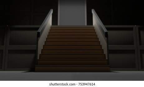 minimalism dark stairs into the light 3d render