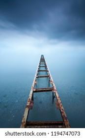 Minimalism perspective around a pier