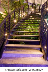minimalism style stairs with night lighting in garden
