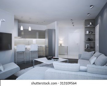 Minimalist apartment studio. Acryl kitchen with bar and mixed two colored walls, - blue and white. 3D render