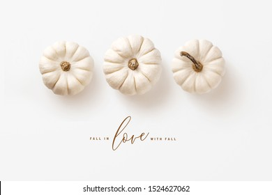 minimalist autumn / fall concept with three white pumpkins in a row and calligraphy inspired message, perfect as seasonal background, banner, or greeting card - flat lay / top view