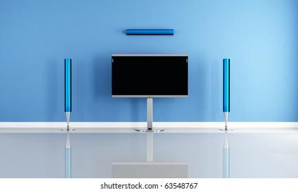 minimalist blue home theater white futuristic speaker - rendering