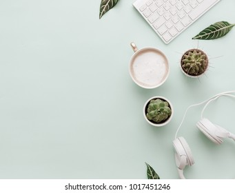 Minimalist Flat Lay Hipster Desktop With Coffee and Headphones