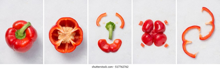 minimalist food arrangement with red bell pepper cuts