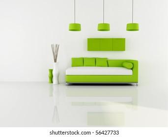 minimalist green and white interior