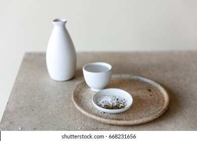 Minimalist japanese ceramic for sake on table