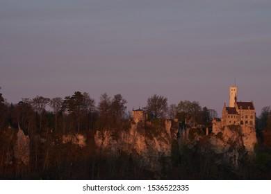 Minimalist Lichtenstein castle in sunrise