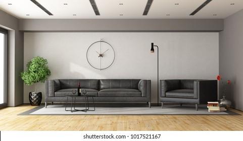 Minimalist living room black sofaa and armchair - 3d rendering
