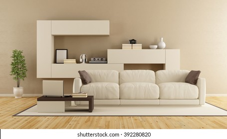 Minimalist living room with modern sofa and wall unit - 3d Rendering