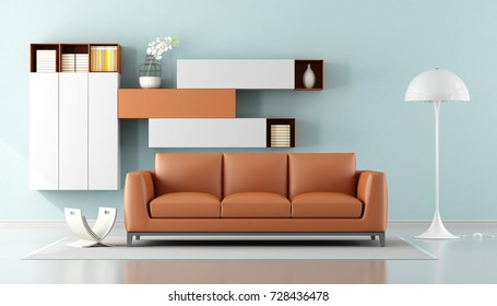 Minimalist living room with orange sofa and wall unit on background - 3d rendering