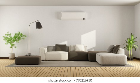 Minimalist living room with sofa and air conditioner - 3d rendering