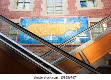 minimalist map of new york city hanging on a wall, USA