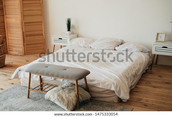 Minimalist Master Bedroom Interior Scandinavian Design Stock ...