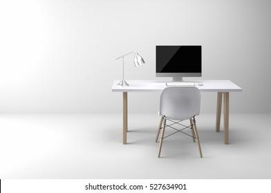 Minimalist modern working space in white room, 3d rendering