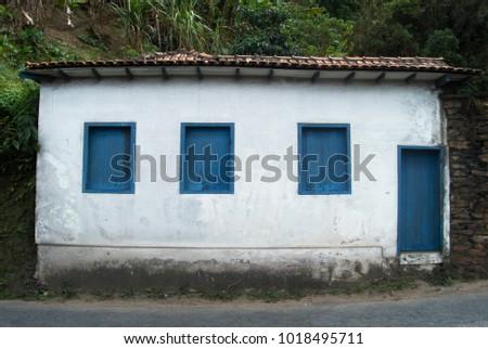 Minimalist Old House Facade Blue White Stock Photo Edit Now