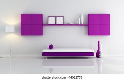 minimalist purple and white interior - rendering
