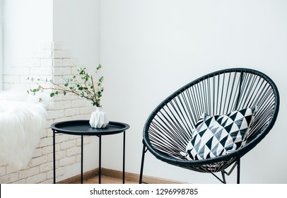 Minimalist Scandinavian home interior, coffee table arrangement in white room