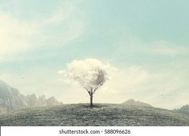 minimalist surreal winter landscape