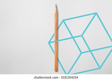 Minimalist template with copy space by top view close up photo of wooden pencil isolated on white paper and combination with blue green line cube graphic. Flash light made smooth shadow from pencil.