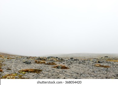 Minimalist view of an arctic desert on top of high Kukisvumchorr plateau in Hibiny mountains above the Arctic circle, Russia