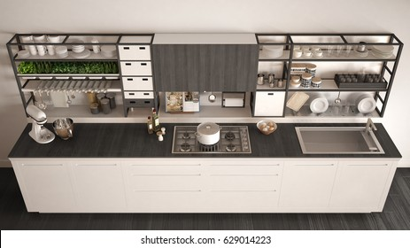 Minimalist white wooden kitchen with appliances close-up, scandinavian classic interior design, top view, 3d illustration