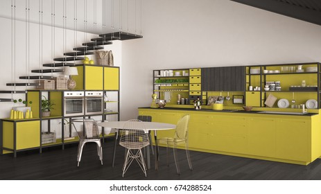 Minimalist yellow and gray wooden kitchen, loft with stairs, classic scandinavian interior design, 3d illustration