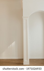 minimalistic architecture concept real white classic columns and arch greek style wall inside, wood panels columns