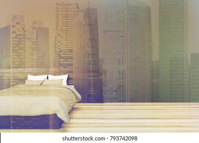 Minimalistic bedroom interior with black walls and a gray master bed on a wooden floor. 3d rendering mock up toned image double exposure