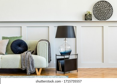 Minimalistic composition of living room with design sofa, coffe table, air plant, books, decoration, pillows, plaid, carpet, wood paneling and elegant persoanl accessories in stylish home decor.