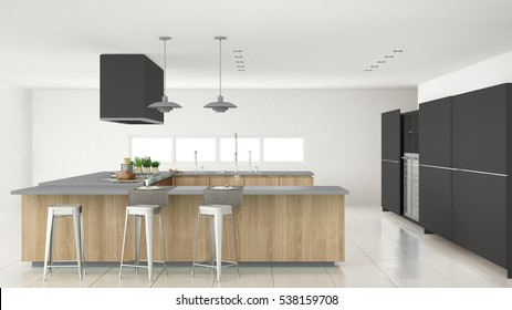 Minimalistic gray kitchen with wooden and gray details, minimal interior design, 3d illustration