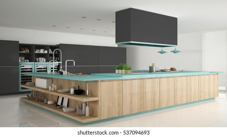 Minimalistic gray kitchen with wooden and turquoise details, minimal interior design, 3d illustration