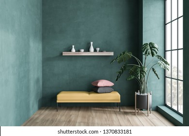 Minimalistic green living room interior with wooden floor, tall window and yellow bench with cushions and shelf with vases above it. 3d rendering