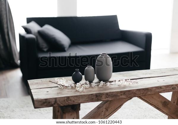 Minimalistic Home Decor On Rustic Coffee Stock Photo Edit Now