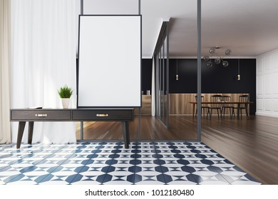 Minimalistic living room interior with a checkered floor, black walls and a chest of drawers with a framed poster above it. 3d rendering mock up