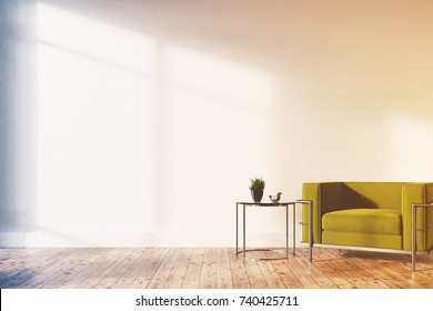Minimalistic living room interior with white walls, a wooden floor, a soft green and silver armchair and a tiny coffee table. 3d rendering mock up toned image