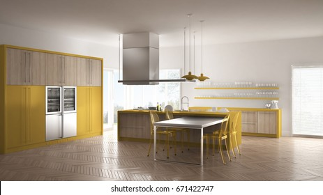 Minimalistic modern kitchen with table, chairs and parquet floor, white and yellow interior design, 3d illustration