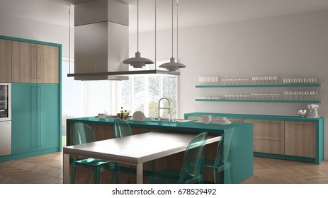 Minimalistic modern kitchen with table, chairs and parquet floor, white and turquoise interior design, 3d illustration